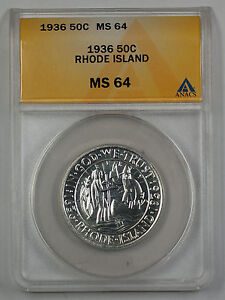 Click now to see the BUY IT NOW Price! 1936 RHODE ISLAND COMMEMORATIVE SILVER HALF DOLLAR ANACS MS 64  PL  PROOF LIKE