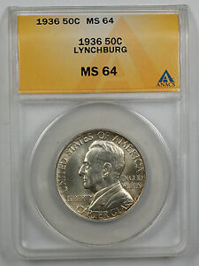 Click now to see the BUY IT NOW Price! 1936 LYNCHBURG SILVER HALF COMMEMORATIVE COIN ANACS MS 64  BETTER  LIGHTLY TONED