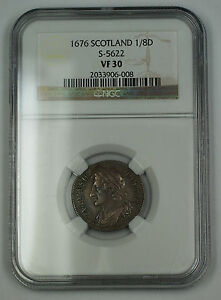 Click now to see the BUY IT NOW Price! 1676 SCOTLAND 1/8 DOLLAR SILVER COIN S 5622 CHARLES II NGC VF 30 AKR