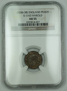 Click now to see the BUY IT NOW Price! 1036 38 ENGLAND JEWEL CROSS PENNY SILVER COIN S 1163 HAROLD NGC AU 55 AKR