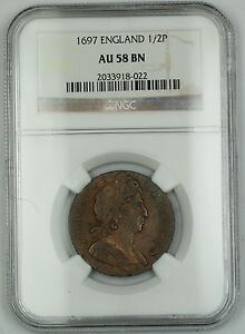 Click now to see the BUY IT NOW Price! 1697 ENGLAND 1/2 PENNY SILVER COIN NGC AU 58 BROWN BN AKR