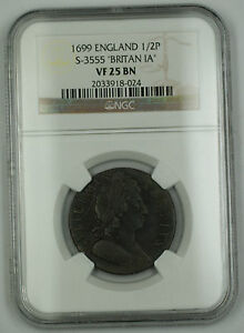 Click now to see the BUY IT NOW Price! 1699 ENGLAND 1/2 PENNY COIN S 3555 BRITAN IA NGC VF 25 BN BROWN AKR
