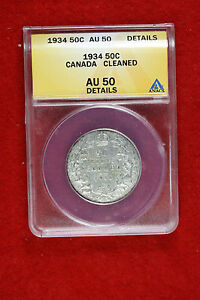 Click now to see the BUY IT NOW Price! CYBERSPACECOINS ANACS 1934 CANADA HALF DOLLAR AU50 DETAILS E0801