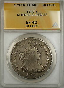 Click now to see the BUY IT NOW Price! 1797 DRAPED BUST SMALL EAGLE SILVER DOLLAR $1 COIN ANACS EF 40 DETAILS