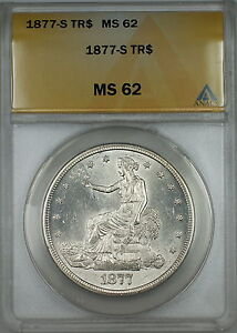 Click now to see the BUY IT NOW Price! 1877 S TRADE SILVER DOLLAR $1 ANACS MS 62  BETTER COIN CHOICE BU