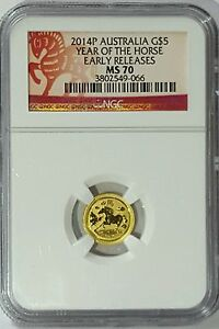 2014 P AUSTRALIA $5 1/20TH GOLD YEAR OF THE HORSE NGC MS 70 EARLY RELEASES