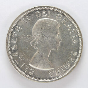 Click now to see the BUY IT NOW Price! 1953 CANADA SILVER HALF DOLLAR ELIZABETH II LG/DATE S/F   CH BU 01283483G