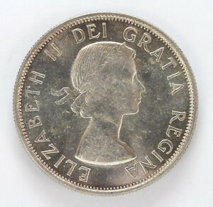 Click now to see the BUY IT NOW Price! 1953 CANADA SILVER HALF DOLLAR ELIZABETH II LG/DATE S/F   CH BU 01283485G