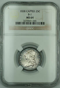Click now to see the BUY IT NOW Price! 1838  GEM BU  CAPPED BUST SILVER QUARTER NGC MS 64 B 1 TONED