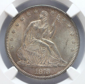 Click now to see the BUY IT NOW Price! 1873 P SEATED LIBERTY HALF W/M CL 3 NO ARROWS CAC NGC   MS64 01257944G