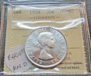 Click now to see the BUY IT NOW Price! CANADA  1954 50 CENTS ICCS MS 65 SILVER QUEEN ELIZABETH II GEM UNC
