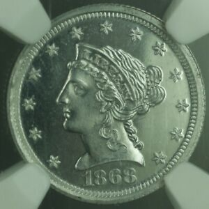 Click now to see the BUY IT NOW Price! 1868 PROOF $2.50 QUARTER EAGLE GOLD COIN ALUMINUM PATTERN J 654 NGC PF 65 CAM WW