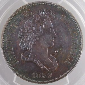 Click now to see the BUY IT NOW Price! 1859 PROOF COPPER HALF DOLLAR 50C PATTERN COIN J 240 PCGS GENUINE TONED WW