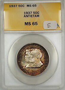 Click now to see the BUY IT NOW Price! 1937 ANTIETAM COMMEM 50C ANACS MS 65 BEAUTIFULLY TONED GEM  BETTER COIN  WP  E
