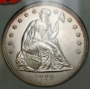 Click now to see the BUY IT NOW Price! 1859 SEATED LIBERTY SILVER $1 DOLLAR COIN NGC MS 62 LOOKS CHOICE BU UNC