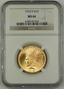 Click now to see the BUY IT NOW Price! 1910 D INDIAN TEN DOLLAR $10 EAGLE GOLD COIN NGC MS 66 GEM BU UNC