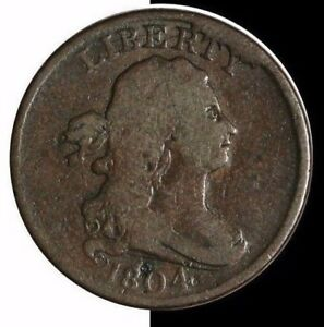 1804 HALF CENTS C 9 R2 LDS MANLEY STATE 5.0 WITH CUD BREAK AT RTY VG7 G5 4 MARKS