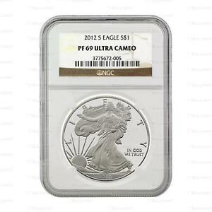 NEW 2012 S AMERICAN SILVER EAGLE 1OZ NGC PF69 ULTRA CAMEO GRADED SLAB PROOF COIN