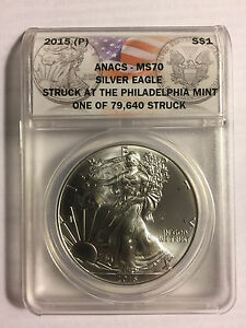 Click now to see the BUY IT NOW Price! 2015  P  STRUCK AT PHILADELPHIA SILVER EAGLE ANACS MS70   ST EAGLE EVER