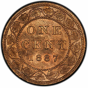 Click now to see the BUY IT NOW Price! 1887 1 CENT CANADA  DOUBLE PUNCHED 7 / DP7  MS 64RB PCGS   PRICE REDUCED