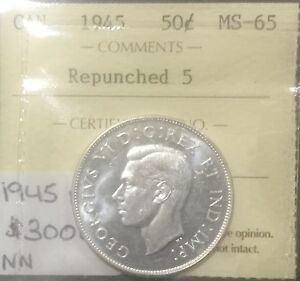 Click now to see the BUY IT NOW Price! CANADA 1945 REPUNCHED  5 50 CENTS  ICCS MS 65 BLAST WHITE GEM
