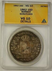 Click now to see the BUY IT NOW Price! 1862 NORWAY ONE SPECIE DALER SILVER COIN 1SD ANACS VG 10 DETAILS SCRATCHED
