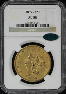 Click now to see the BUY IT NOW Price! 1855 S DOUBLE EAGLE TYPE 1 $20 GOLD LIBERTY NGC AU 58 CAC  125936