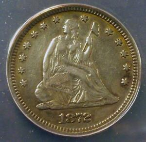 1872 VF35 DETAILS ANACS LIBERTY SEATED QUARTER IDMM702