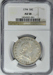 Click now to see the BUY IT NOW Price! 1794 FLOWING HAIR 50C NGC AU 58