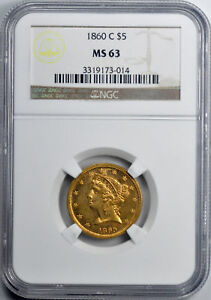 Click now to see the BUY IT NOW Price! 1860 C LIBERTY $5 NGC MS 63