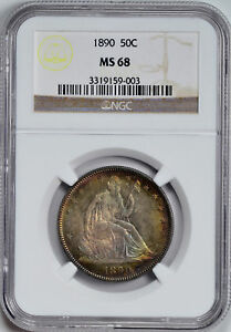 1890 LIBERTY SEATED 50C NGC MS 68