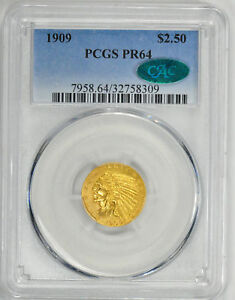 Click now to see the BUY IT NOW Price! 1909 INDIAN $2 1/2 PCGS PR 64
