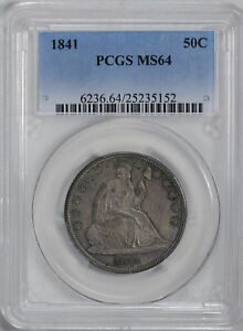 1841 LIBERTY SEATED 50C PCGS MS 64