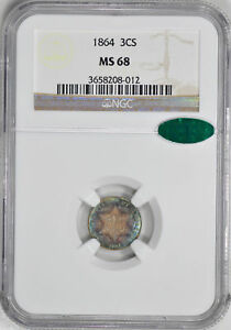 Click now to see the BUY IT NOW Price! 1864 SILVER 3CS NGC MS 68