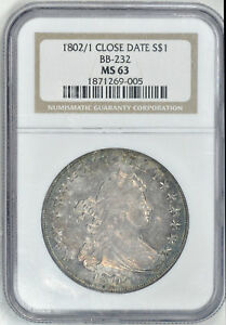 Click now to see the BUY IT NOW Price! 1802/1 DRAPED BUST $1 NGC 56 63