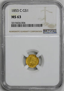 Click now to see the BUY IT NOW Price! 1853 C GOLD G$1 NGC MS 63