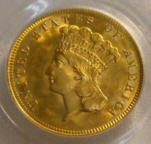 Click now to see the BUY IT NOW Price! UNCIRCULATED 1878 $3.00 PRINCESS GOLD COIN PCGS MS64