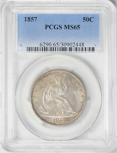 Click now to see the BUY IT NOW Price! 1857 LIBERTY SEATED 50C PCGS MS 65