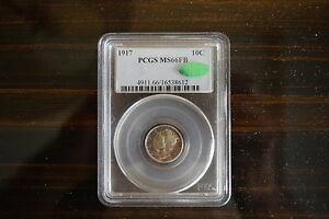 Click now to see the BUY IT NOW Price! 1917 MS66FB PCGS 10C MERCURY DIME TONING