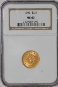 1902 $2 1/2 GOLD LIBERTY MS63 NGC