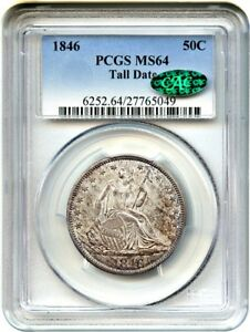 1846 50C PCGS/CAC MS64  TALL DATE  LIBERTY SEATED HALF DOLLAR