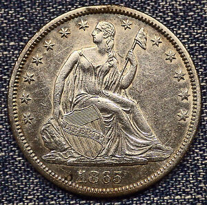 1865 S SEATED LIBERTY HALF DOLLAR AU    DIE CLASHED COIN