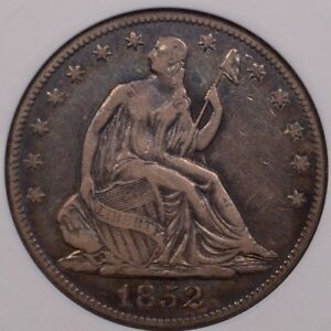 1852 O  DATE SEATED HALF DOLLAR OLD ANACS VF20 TOUGH    DAVIDKAHNCOINS