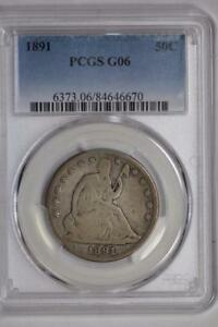 1891 SEATED LIBERTY HALF DOLLAR G06 PCGS US MINT 50C SILVER COIN