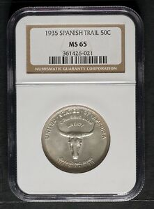 Click now to see the BUY IT NOW Price! 1935 SPANISH TRAIL COMMEMORATIVE HALF DOLLAR NGC MS65
