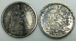 1840 NO DRAPERY 1871 DIME SEATED DIME PAIR MIXED FLEA MARKET BUDGET COLLECTOR