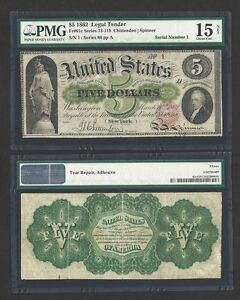 Click now to see the BUY IT NOW Price! SERIAL 1 / 1862 $5.00 THE UNITED STATES FIRST LEGAL TENDER PMG VF 15  AMAZING