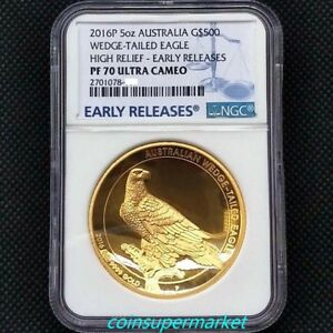 Click now to see the BUY IT NOW Price! 2016 THE AUSTRALIAN WEDGE TAILED EAGLE 5OZ GOLD PROOF HIGH RELIEF COIN NGC PF70