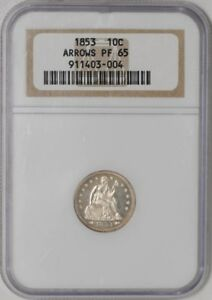 Click now to see the BUY IT NOW Price! 1853 SEATED LIBERTY DIME 10C ARROWS PF65 NGC