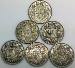 Click now to see the BUY IT NOW Price! CANADA 50 CENTS NICE LOT OF 6 1937 38 39 46 49 1950 GEORGE VI SILVER HALVES
